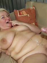 Big mature slut taking the young man's cock after he helps with her grocery bags