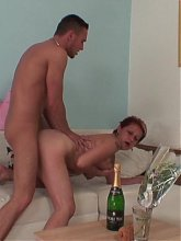 After a hot mature blowjob she gets on top of his dick and she rides him like a slut