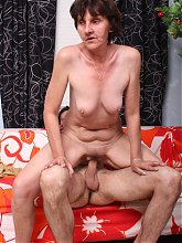 Sexy GILF Stephanie puts on a show and gives a younger guys dick a riding during a cam show
